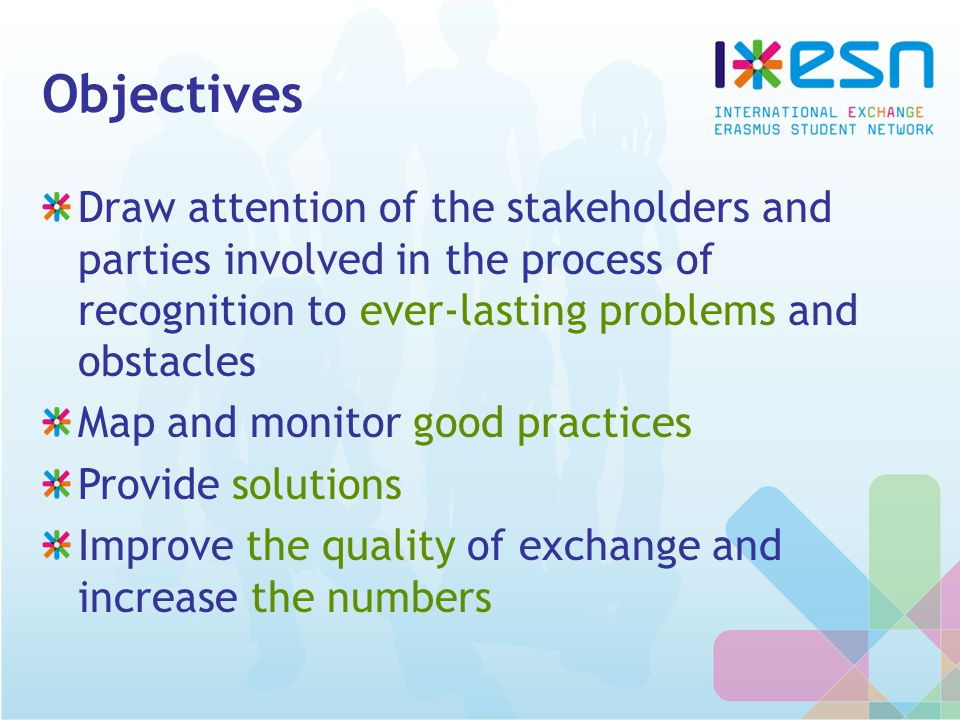 Objectives Draw attention of the stakeholders and parties involved in the process of recognition to ever-lasting problems and obstacles Map and monitor good practices Provide solutions Improve the quality of exchange and increase the numbers
