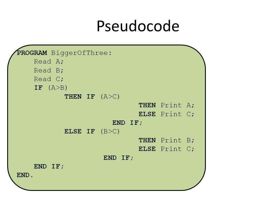 Pseudocode PROGRAM BiggerOfThree: Read A; Read B; Read C; IF (A>B) THEN IF (A>C) THEN Print A; ELSE Print C; END IF; ELSE IF (B>C) THEN Print B; ELSE