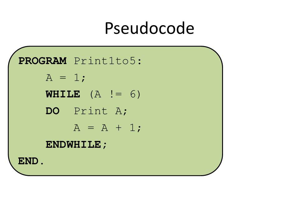 Pseudocode PROGRAM Print1to5: A = 1; WHILE (A != 6) DO Print A; A = A + 1; ENDWHILE; END.