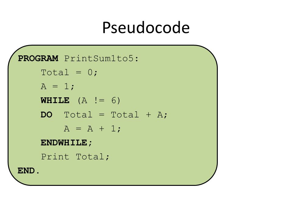 Pseudocode PROGRAM PrintSum1to5: Total = 0; A = 1; WHILE (A != 6) DO Total = Total + A; A = A + 1; ENDWHILE; Print Total; END.