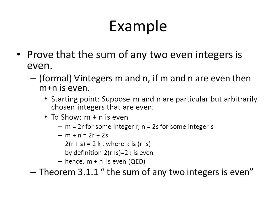 Example Prove that the sum of any two even integers is even. – (formal) ∀ integers m and n, if m and n are even then m+n is even. Starting point: Supp
