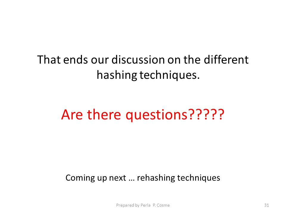 That ends our discussion on the different hashing techniques.