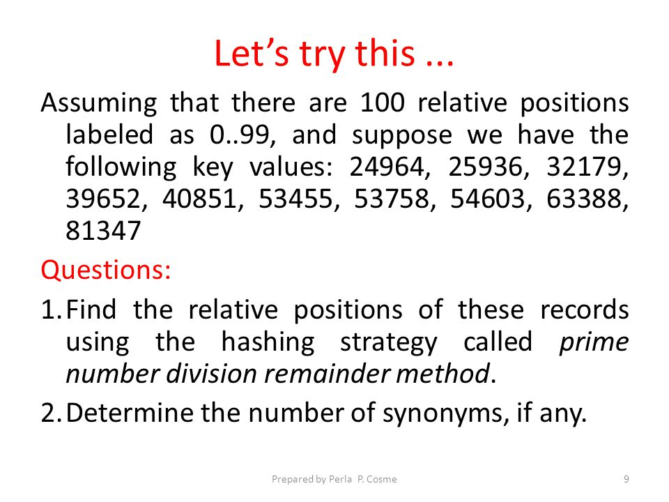 Answer Key ValuesRelative Positions 2496435 2593637 3217972 3965276 4085114 534558 5375820 5460389 6338847 8134761 No.