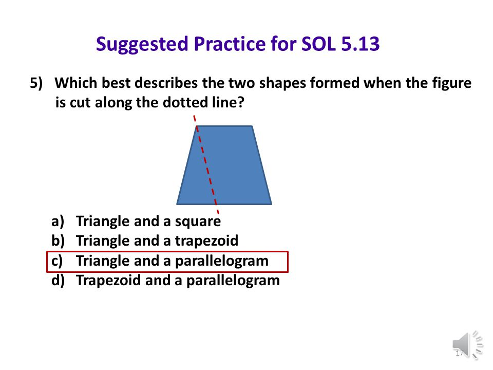 Suggested Practice for SOL 5.13 Students need additional practice describing the results of combined or subdivided figures. 4) What shape will result