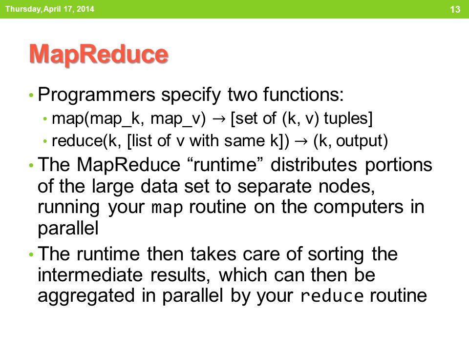 MapReduce Thursday, April 17, 2014 13