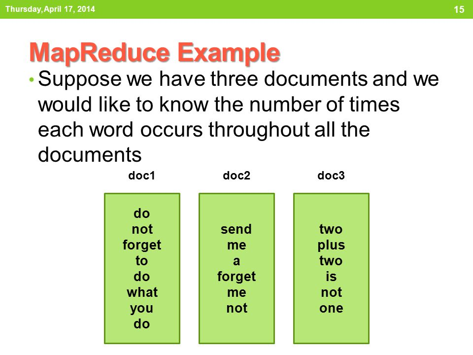 MapReduce Example Suppose we have three documents and we would like to know the number of times each word occurs throughout all the documents Thursday, April 17, 2014 15 do not forget to do what you do send me a forget me not two plus two is not one doc1doc2doc3