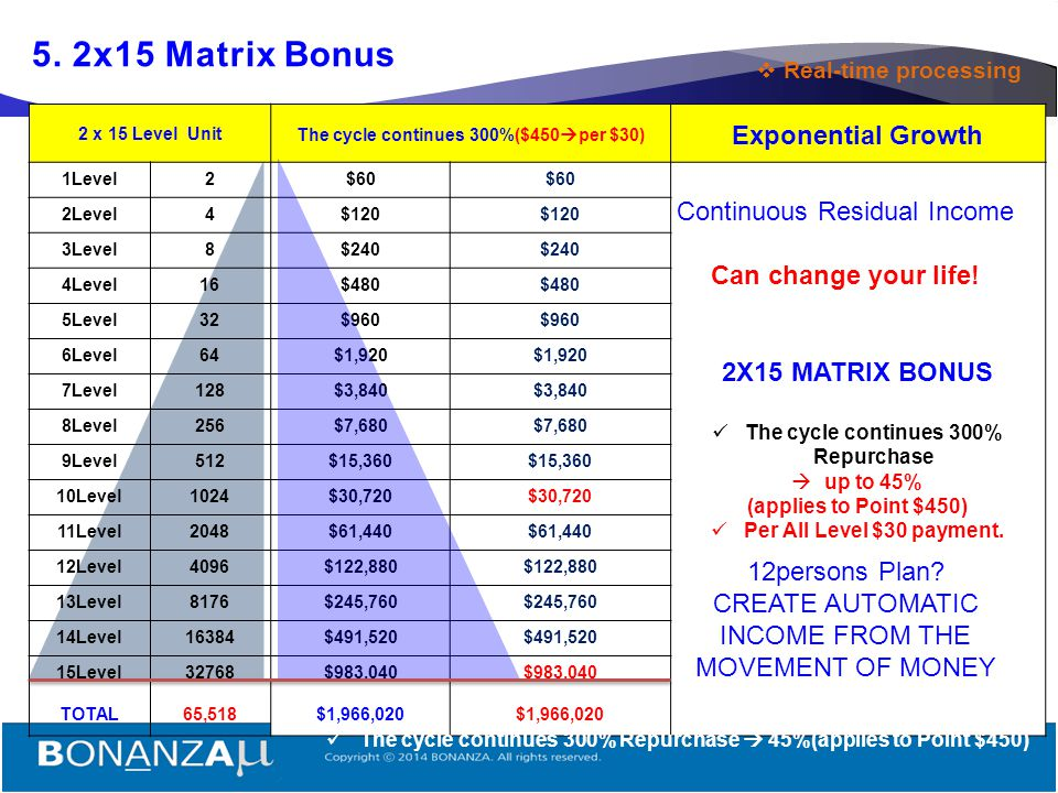 18  Rank Up & 2x15 Matrix Avoid Lost Earnings from the Dual Team System. Savings and Earnings - ARE IN REAL TIME. 1 3 2 4 You're a Direct Sponsor VIP