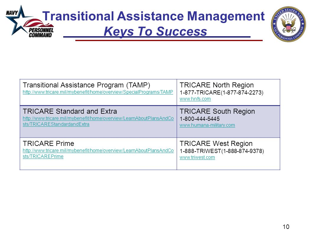 10 Transitional Assistance Management Keys To Success Transitional Assistance Program (TAMP) http://www.tricare.mil/mybenefit/home/overview/SpecialPro