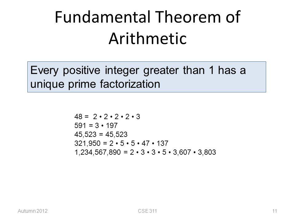 Fundamental Theorem of Arithmetic Autumn 2012CSE 311 11 Every positive integer greater than 1 has a unique prime factorization 48 = 2 2 2 2 3 591 = 3 197 45,523 = 45,523 321,950 = 2 5 5 47 137 1,234,567,890 = 2 3 3 5 3,607 3,803