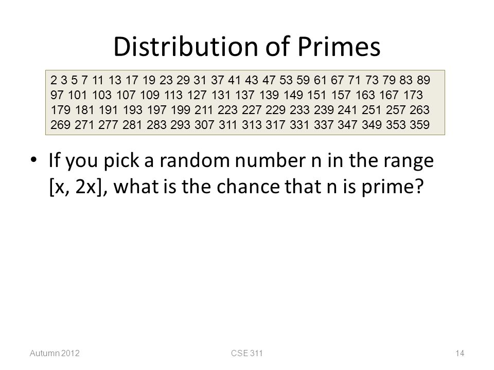 Distribution of Primes If you pick a random number n in the range [x, 2x], what is the chance that n is prime? 2 3 5 7 11 13 17 19 23 29 31 37 41 43 4