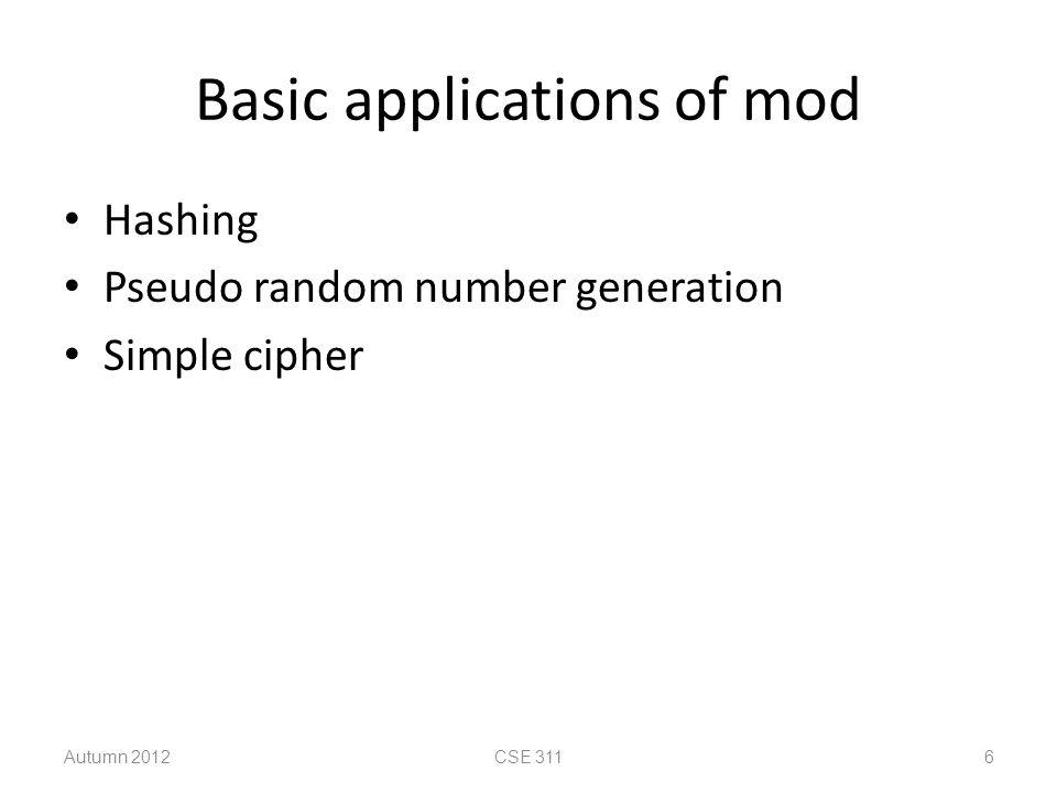 Basic applications of mod Hashing Pseudo random number generation Simple cipher Autumn 2012CSE 3116