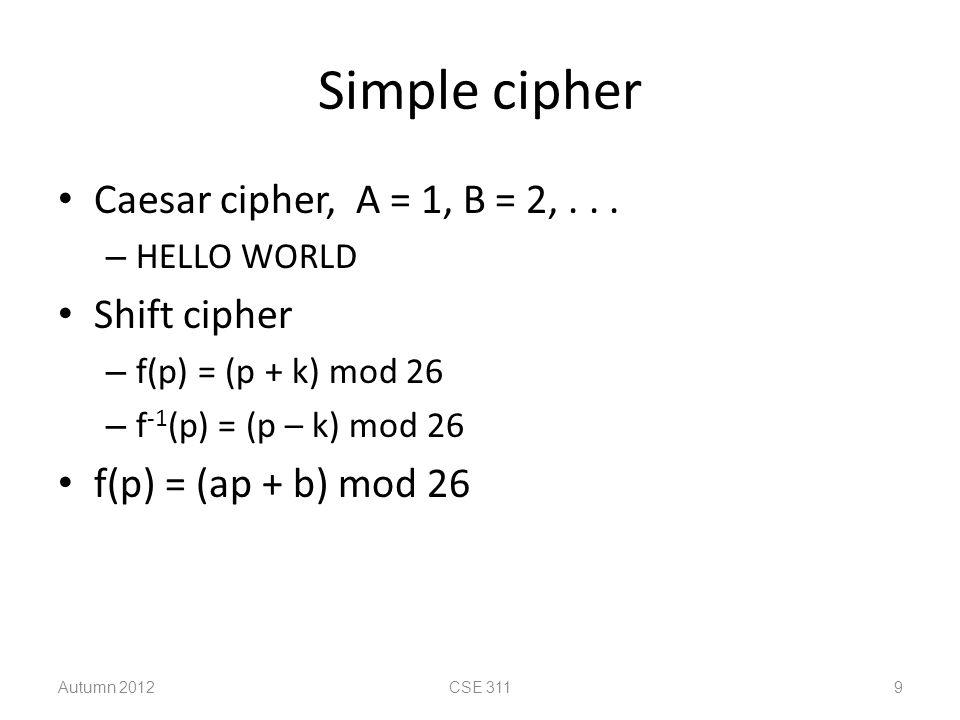 Simple cipher Caesar cipher, A = 1, B = 2,...