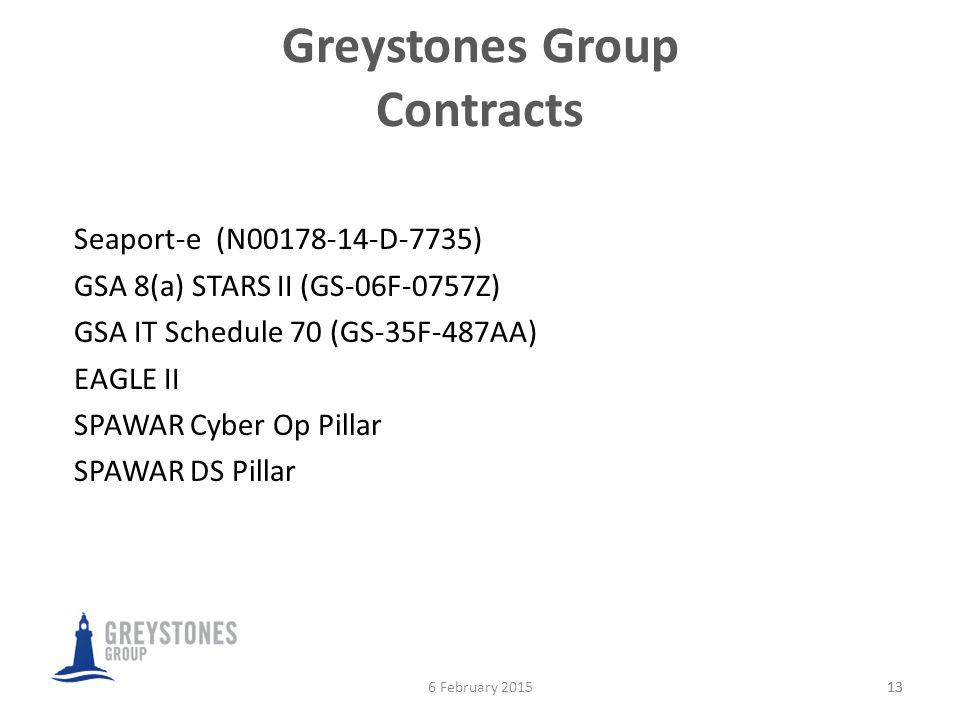 Greystones Group Contracts 13 Seaport-e (N00178-14-D-7735) GSA 8(a) STARS II (GS-06F-0757Z) GSA IT Schedule 70 (GS-35F-487AA) EAGLE II SPAWAR Cyber Op Pillar SPAWAR DS Pillar 136 February 2015