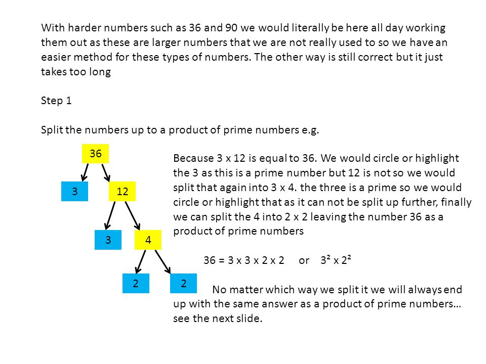 With harder numbers such as 36 and 90 we would literally be here all day working them out as these are larger numbers that we are not really used to so we have an easier method for these types of numbers.