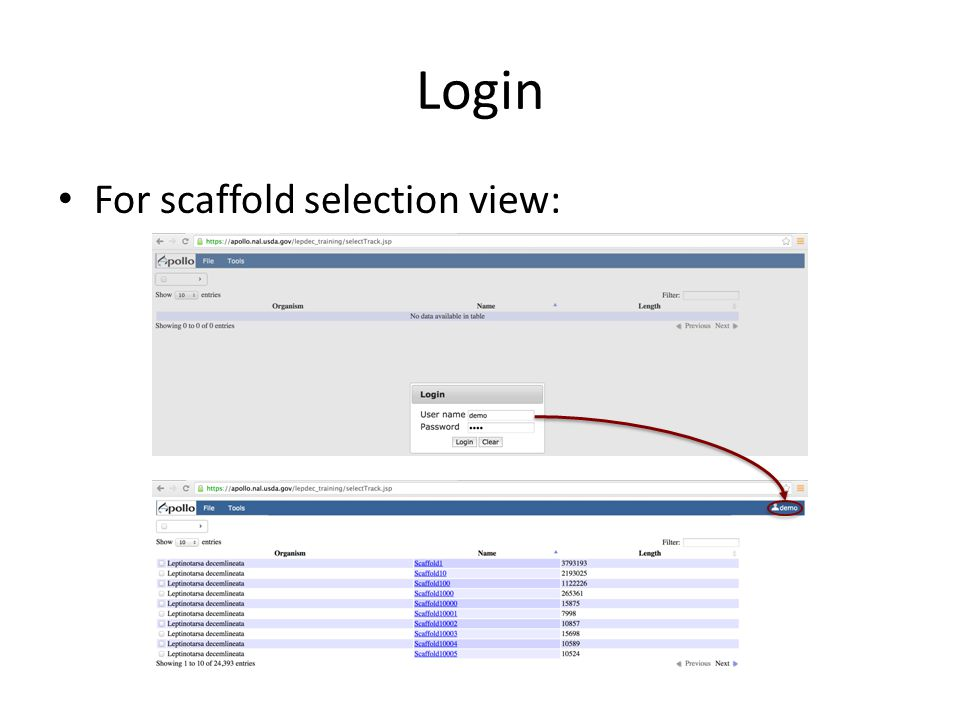 Login For scaffold selection view:
