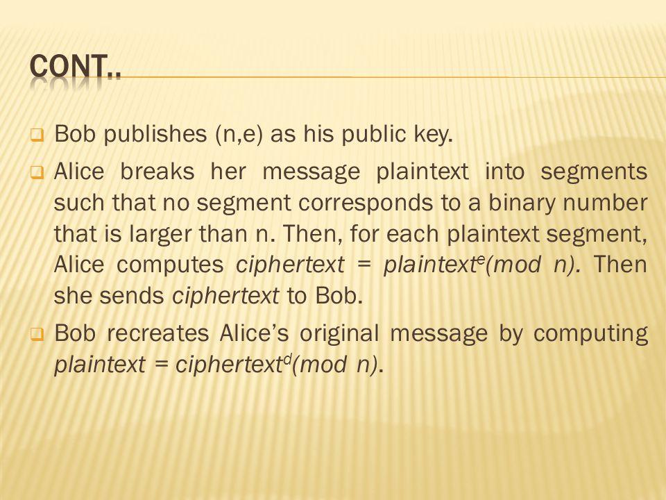  Bob publishes (n,e) as his public key.