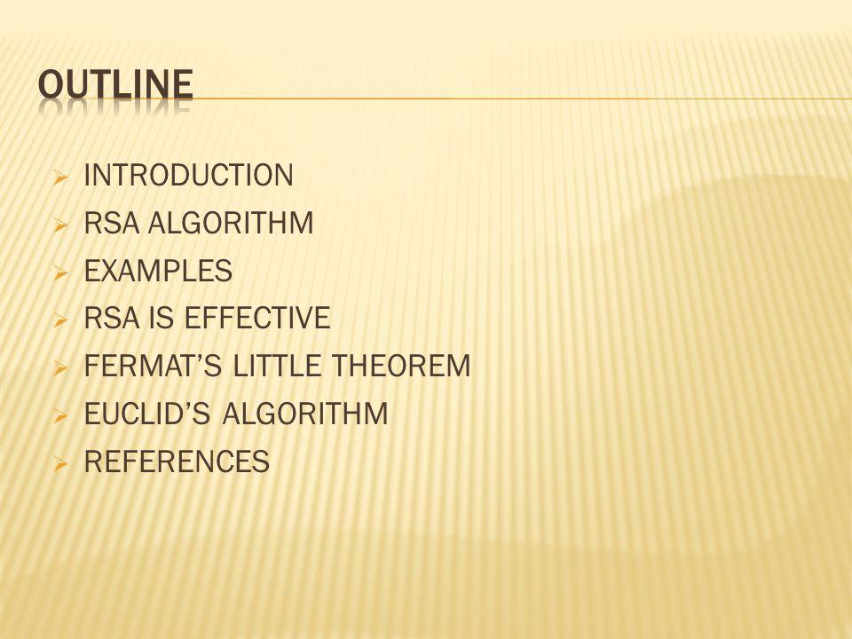  INTRODUCTION  RSA ALGORITHM  EXAMPLES  RSA IS EFFECTIVE  FERMAT'S LITTLE THEOREM  EUCLID'S ALGORITHM  REFERENCES