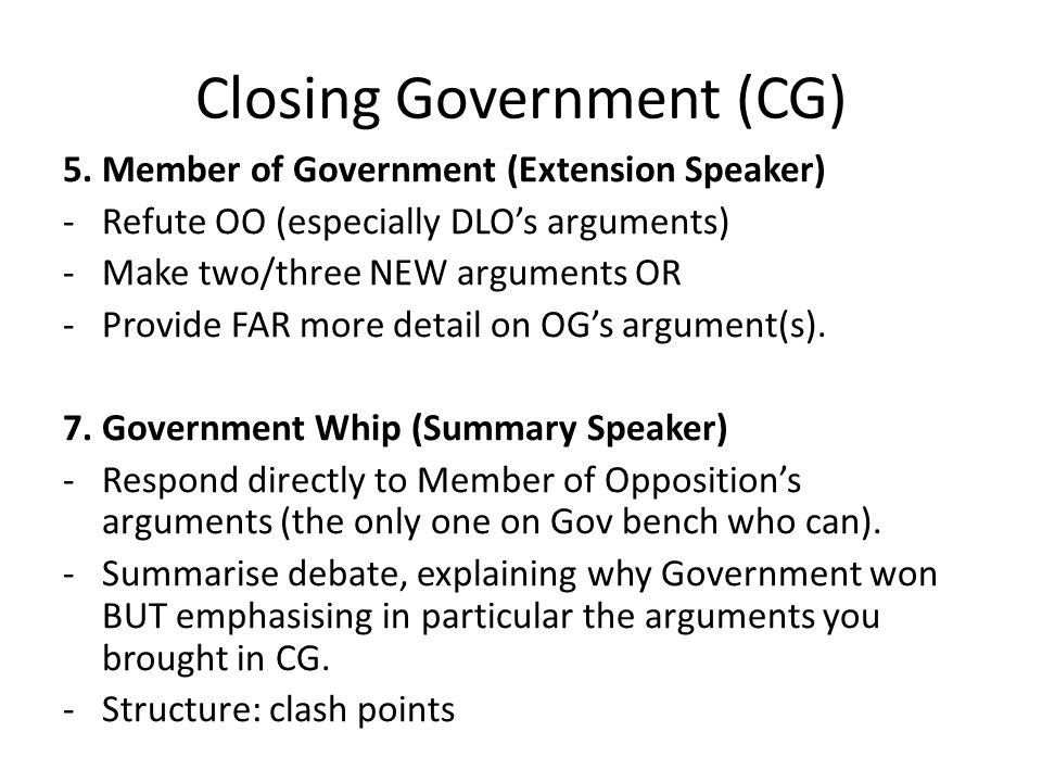Closing Government (CG) 5.