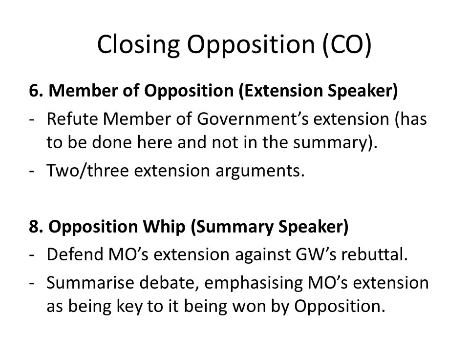 Closing Opposition (CO) 6.