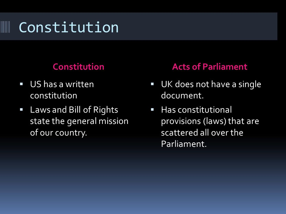 Constitution Acts of Parliament  US has a written constitution  Laws and Bill of Rights state the general mission of our country.  UK does not have