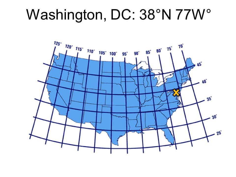 Washington, DC: 38°N 77W°
