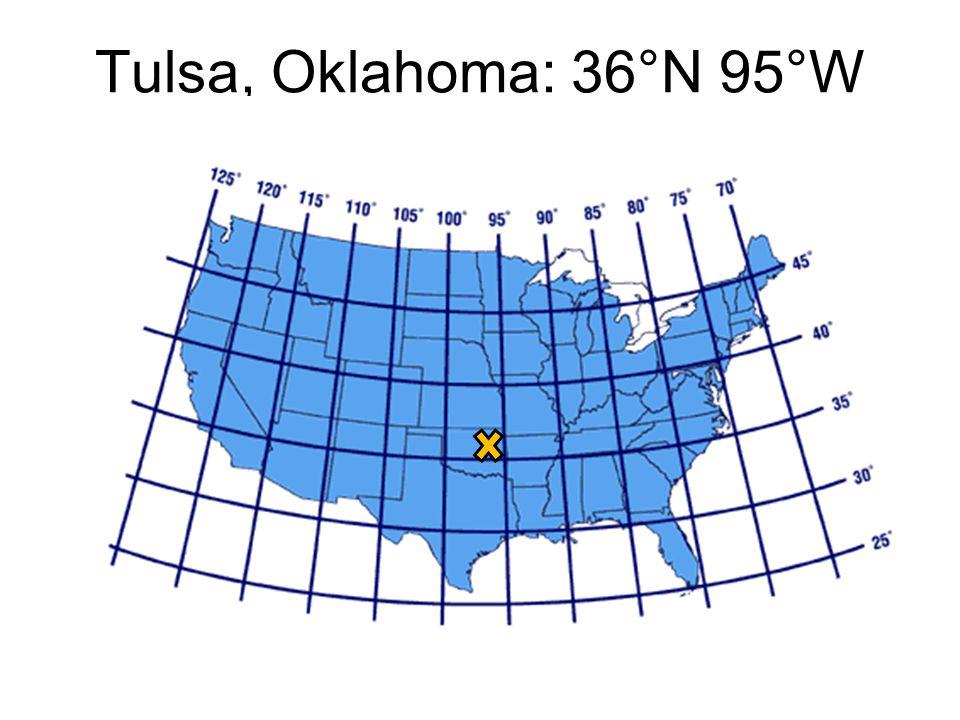 Tulsa, Oklahoma: 36°N 95°W