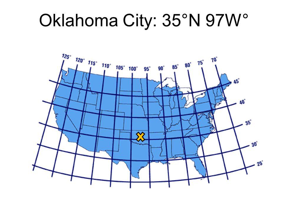 Oklahoma City: 35°N 97W°