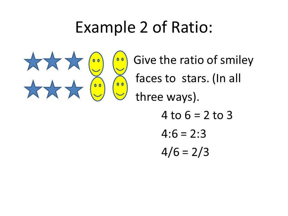 Example 2 of Ratio: Give the ratio of smiley faces to stars.