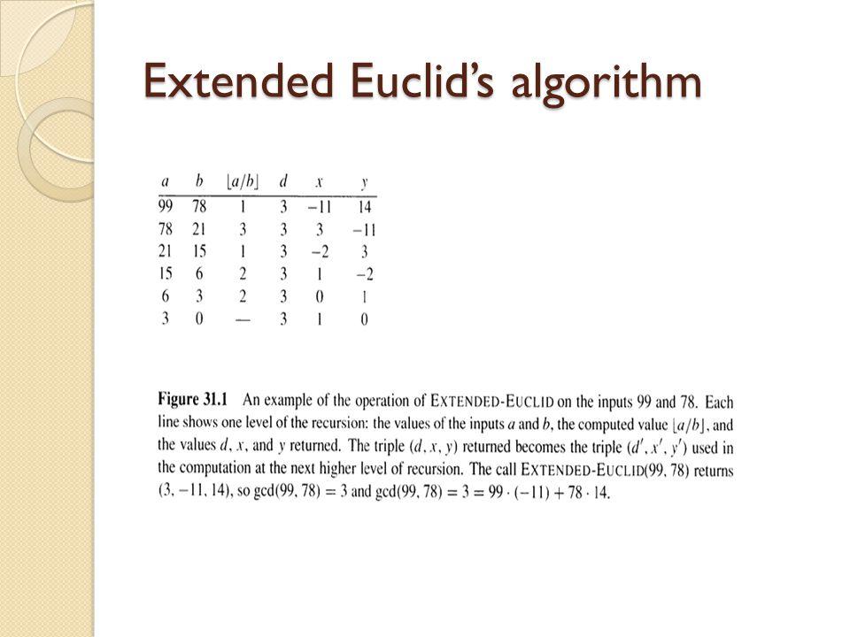 Extended Euclid's algorithm