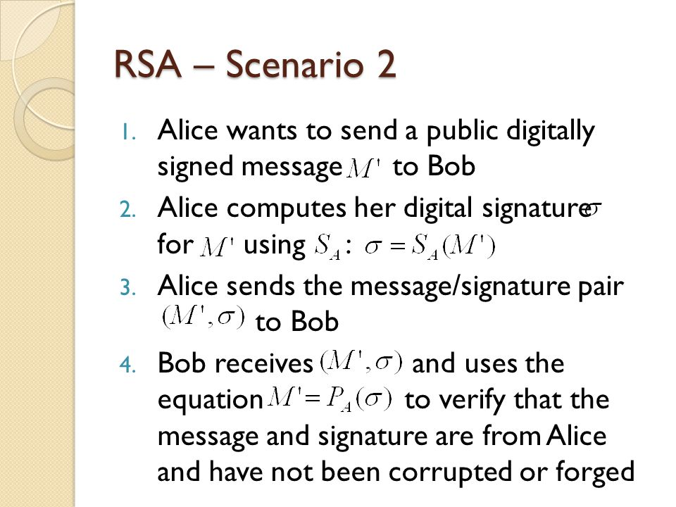 RSA – Scenario 2 1. Alice wants to send a public digitally signed message to Bob 2.