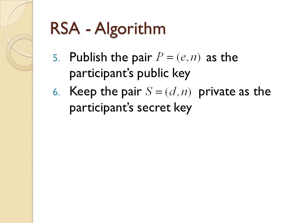 RSA - Algorithm 5. Publish the pair as the participant's public key 6.