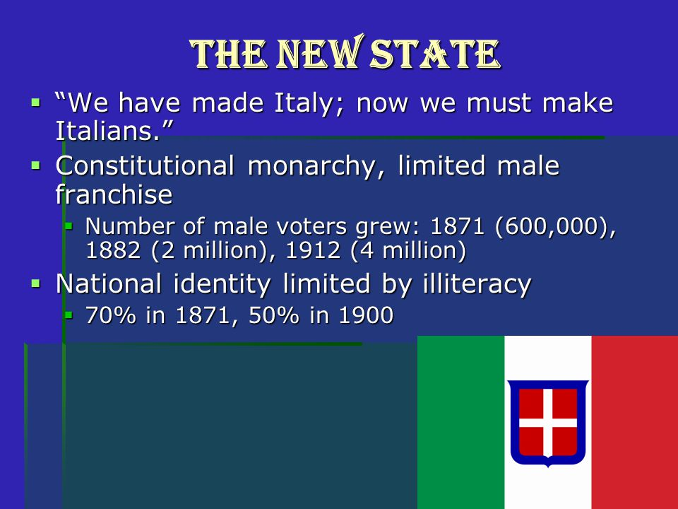 The New State  We have made Italy; now we must make Italians.  Constitutional monarchy, limited male franchise  Number of male voters grew: 1871 (600,000), 1882 (2 million), 1912 (4 million)  National identity limited by illiteracy  70% in 1871, 50% in 1900