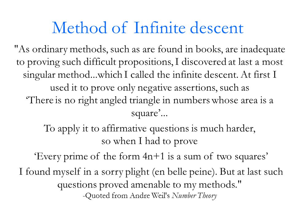 Method of Infinite descent