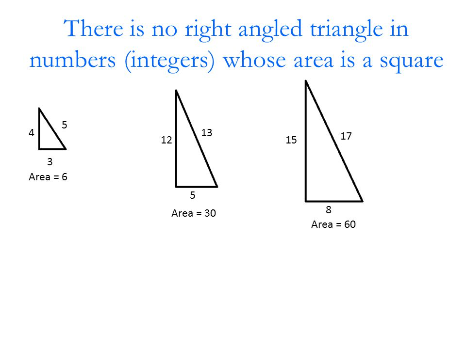 There is no right angled triangle in numbers (integers) whose area is a square 3 4 5 Area = 6 5 12 13 Area = 30 8 15 17 Area = 60