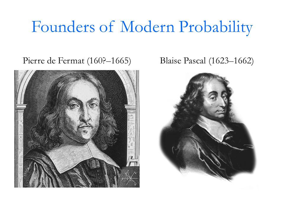 Founders of Modern Probability Pierre de Fermat (160 –1665)Blaise Pascal (1623–1662)