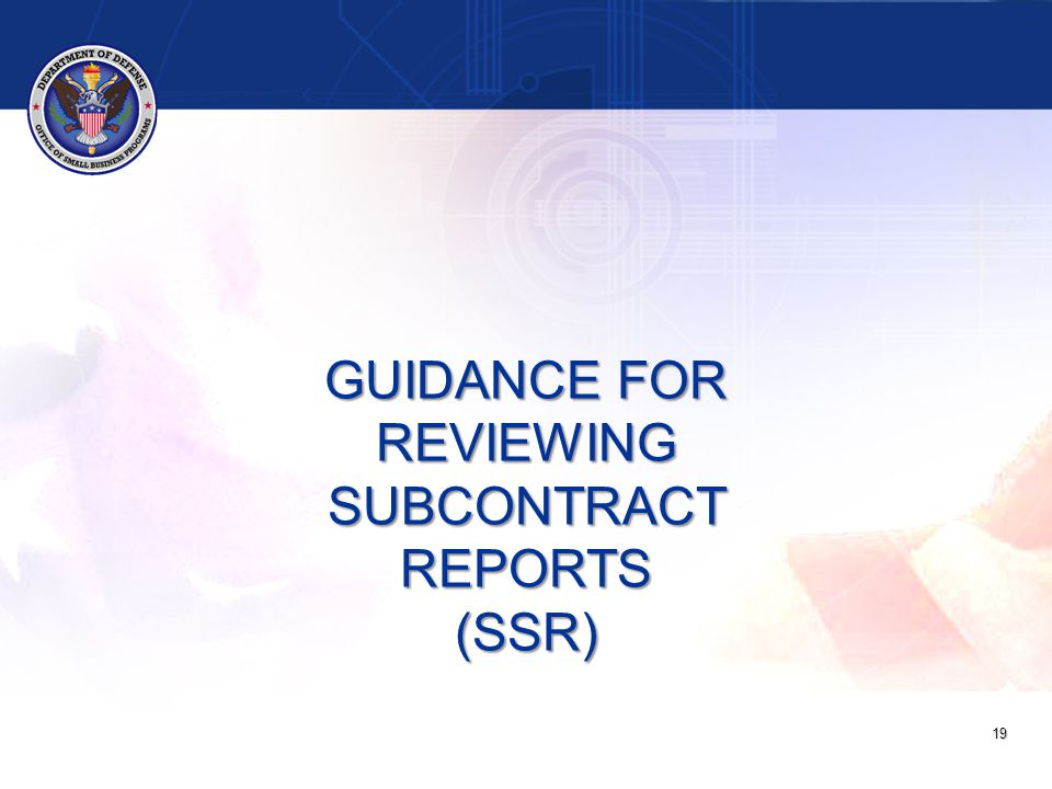 19 GUIDANCE FOR REVIEWING SUBCONTRACT REPORTS (SSR)