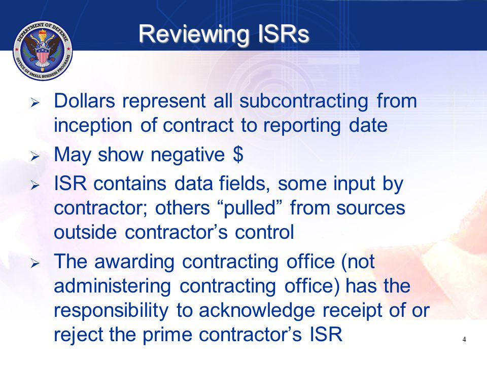 25 ItemSectionDescriptionComment AType of Plan: Contractor selects Individual Plan as the type plan that requires him to submit this SSR NAR BDUNS #: Contractor inputs DUNS #, system autofills contractor's physical and mailing addresses NAR NOTE: DUNS # may not match any DUNS #s on contracts CDate Submitted: Contractor selects date from calendar NAR