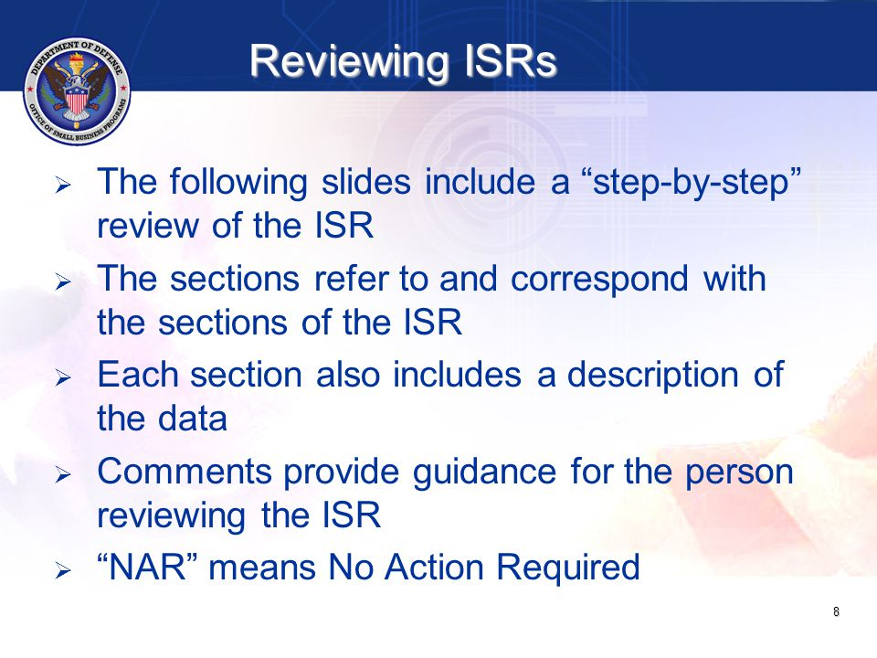 49 ItemSectionDescriptionComment KRemarks: For any category with zero dollars, contractor provides explanation, future plan of action, or any comments that would be helpful to Government official reviewing the report If comment not provided for each category where zero:  REJECT SSR; provide explanation so that contractor knows what to do NOTE: There are no goals for large business, ANC, or Indian Tribes LContractor's Official Who Administers Subcontract Program Contractor provides name, title, and phone number of individual who administers company's Small Business Subcontracting Program (most likely the company's SBLO) If contractor does not provide:  REJECT SSR; provide explanation so that contractor knows what to do