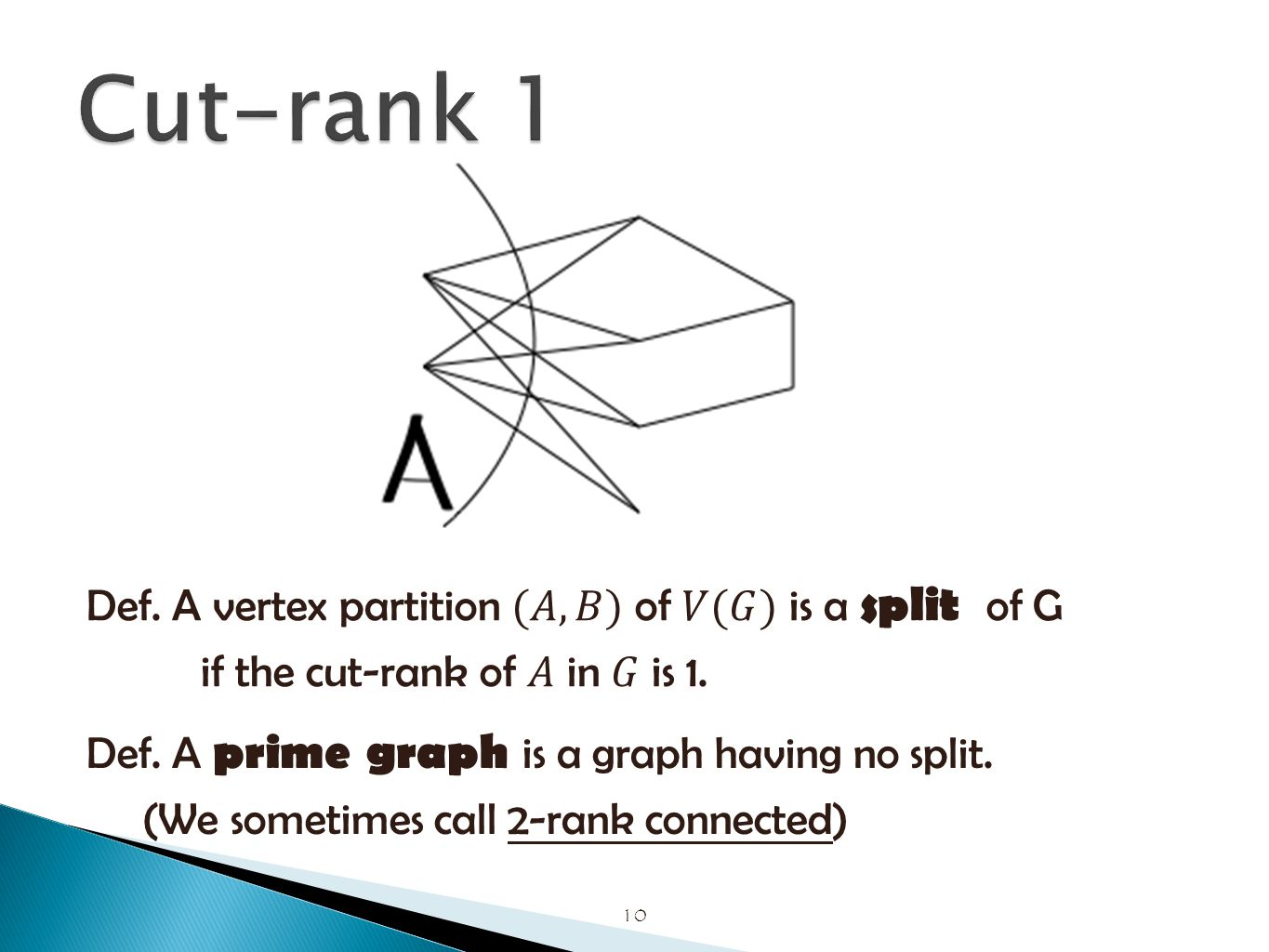 10 Def. A prime graph is a graph having no split. (We sometimes call 2-rank connected)
