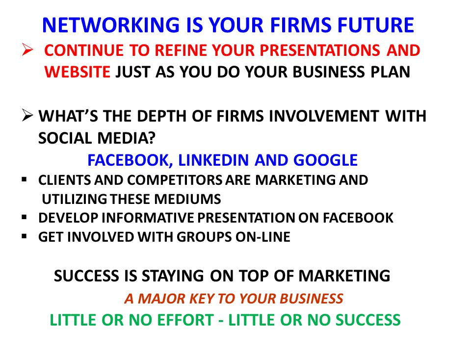NETWORKING IS YOUR FIRMS FUTURE  CONTINUE TO REFINE YOUR PRESENTATIONS AND WEBSITE JUST AS YOU DO YOUR BUSINESS PLAN  WHAT'S THE DEPTH OF FIRMS INVOLVEMENT WITH SOCIAL MEDIA.
