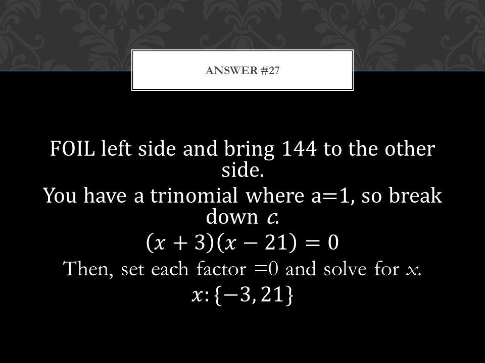 ANSWER #27