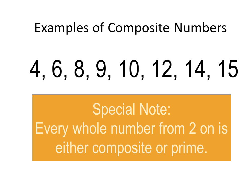 Examples of Composite Numbers 4, 6, 8, 9, 10, 12, 14, 15 Special Note: Every whole number from 2 on is either composite or prime.