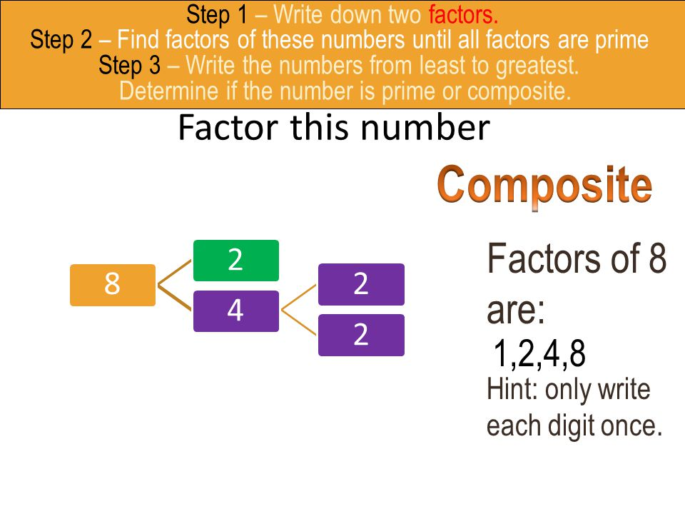 Factor this number 82422 Factors of 8 are: Hint: only write each digit once. 8248 1,2,4,8 Step 1 – Write down two factors. Step 2 – Find factors of th