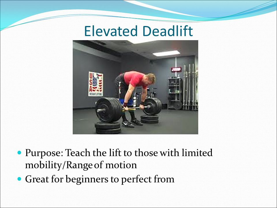 Romanian Deadlift Purpose: Teach Hip Hinge Focuses on activating hips Coaching Cues: Knees behind shoelaces, chest up, No slack