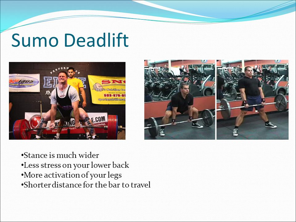 Conventional Deadlift The most popular form Your Feet should be shoulder with apart Keep the bar in contact with your body!