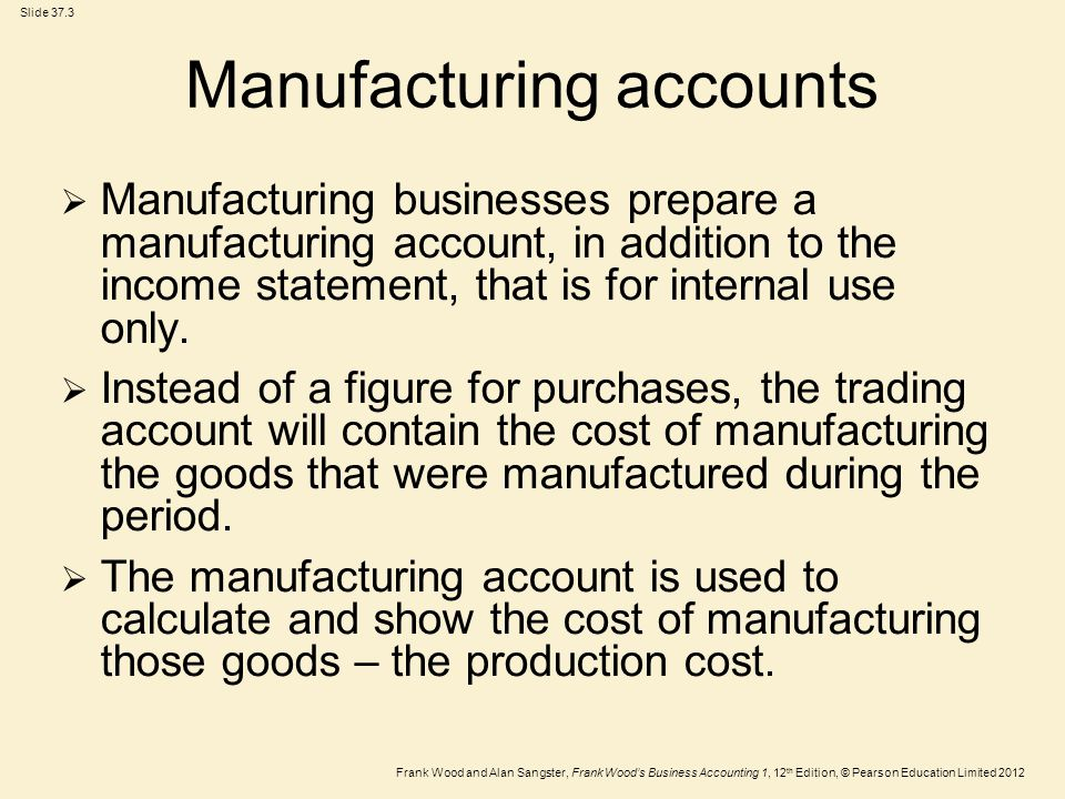 Frank Wood and Alan Sangster, Frank Wood's Business Accounting 1, 12 th Edition, © Pearson Education Limited 2012 Slide 37.3 Manufacturing accounts  Manufacturing businesses prepare a manufacturing account, in addition to the income statement, that is for internal use only.