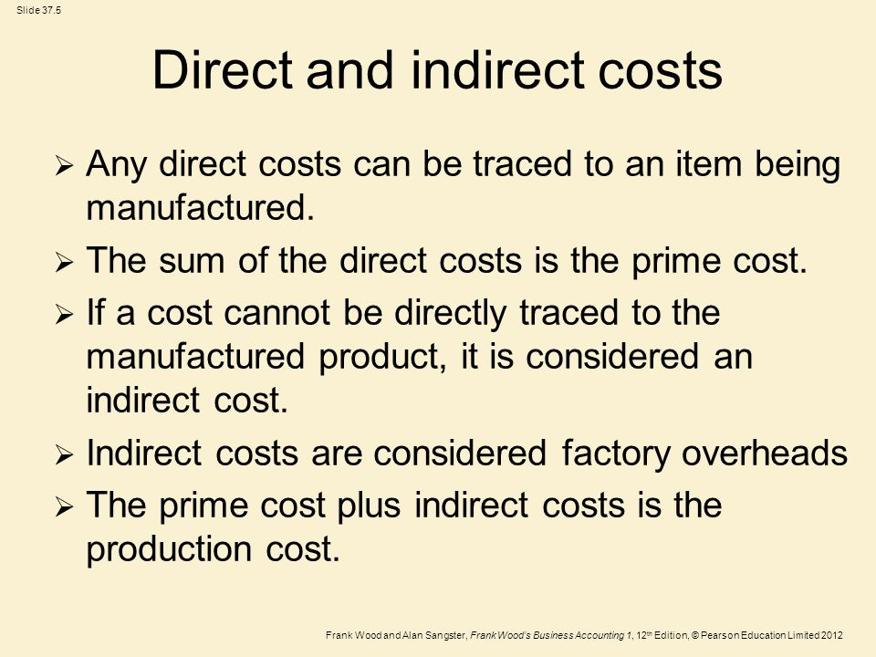 Frank Wood and Alan Sangster, Frank Wood's Business Accounting 1, 12 th Edition, © Pearson Education Limited 2012 Slide 37.16 Apportionment of expenses  Sometimes expenses will have to be split between indirect manufacturing costs and one of the profit and loss account expenses such as administration or selling expenses.
