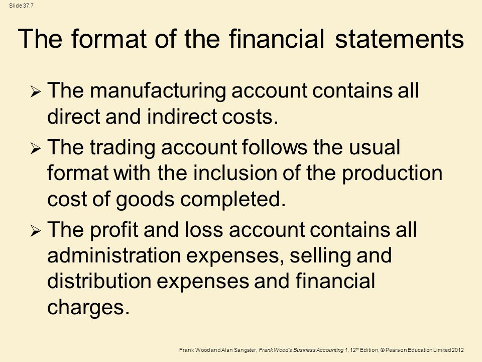 Frank Wood and Alan Sangster, Frank Wood's Business Accounting 1, 12 th Edition, © Pearson Education Limited 2012 Slide 37.8 The financial statements