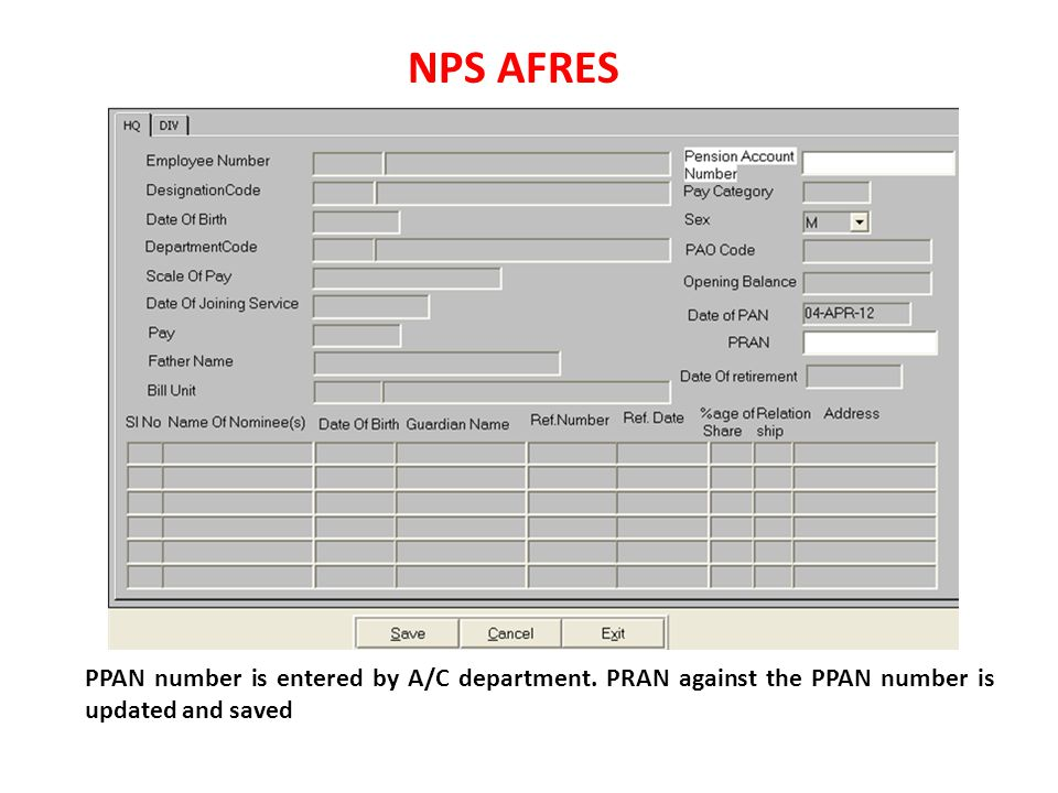 NPS AFRES PPAN number is entered by A/C department.