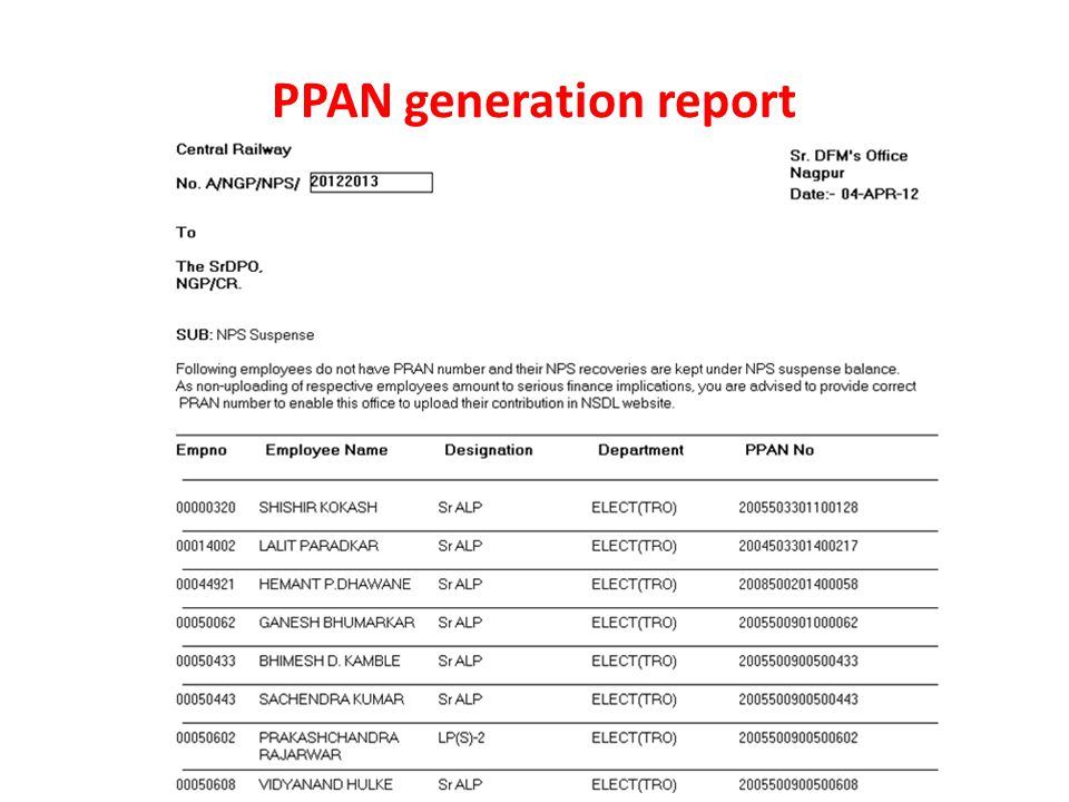 PPAN generation report